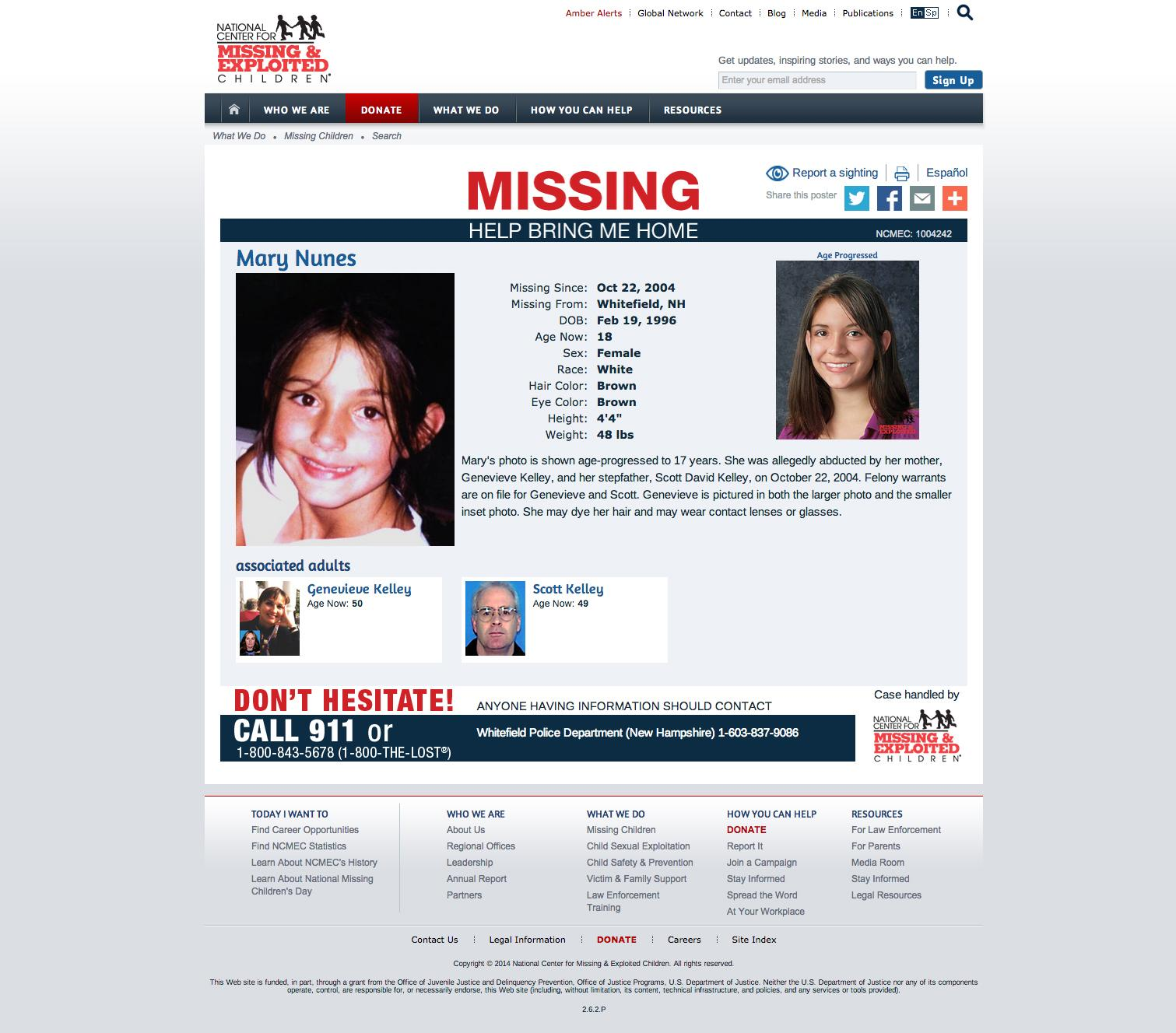 A decade later questions linger in Mary Nunes abuse case The – Make Missing Poster